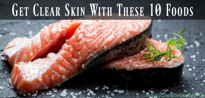 Get Clear Skin With These 10 Foods - fresh raw salmon fillets with coarse sea salt