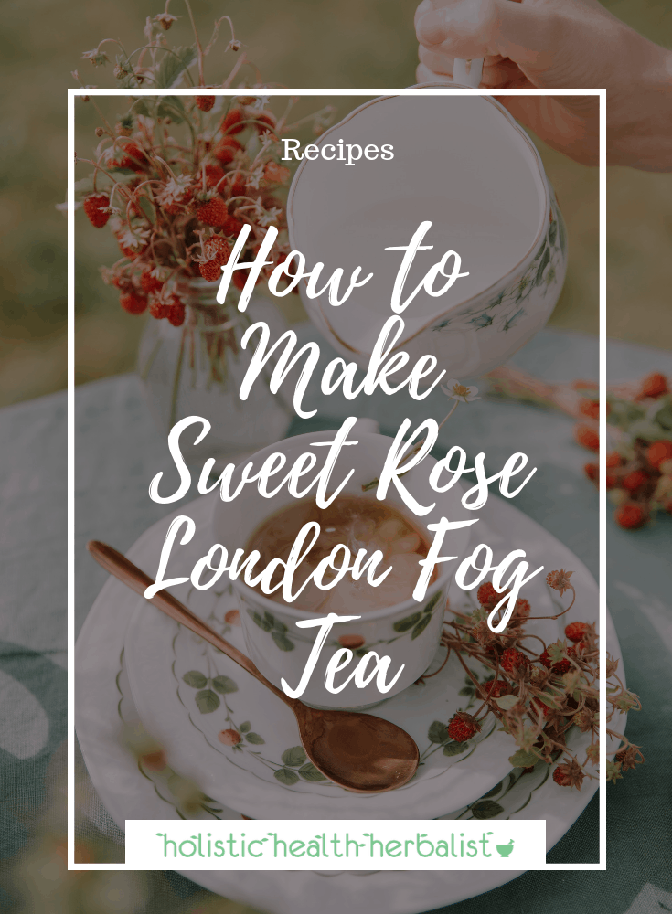 How to Make a Sweet Rose London Fog - Learn how to make this delicious London Fog recipe with a subtle hint of rose! - Photo of milk being poured into earl grey tea.