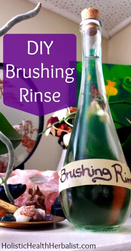 "DIY Brushing Rinse - Learn how to make an amazing brushing rinse that ""brushes your teeth"" AND acts like a mouthwash! It freshens, cleans, and whitens teeth and it's made with all natural ingredients!"