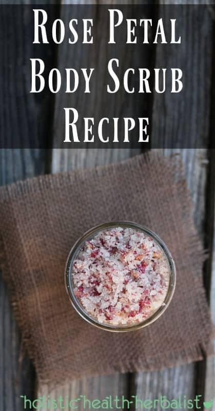 Rose Petal Body Scrub Recipe - The perfect sugar scrub for Valentine's Day.