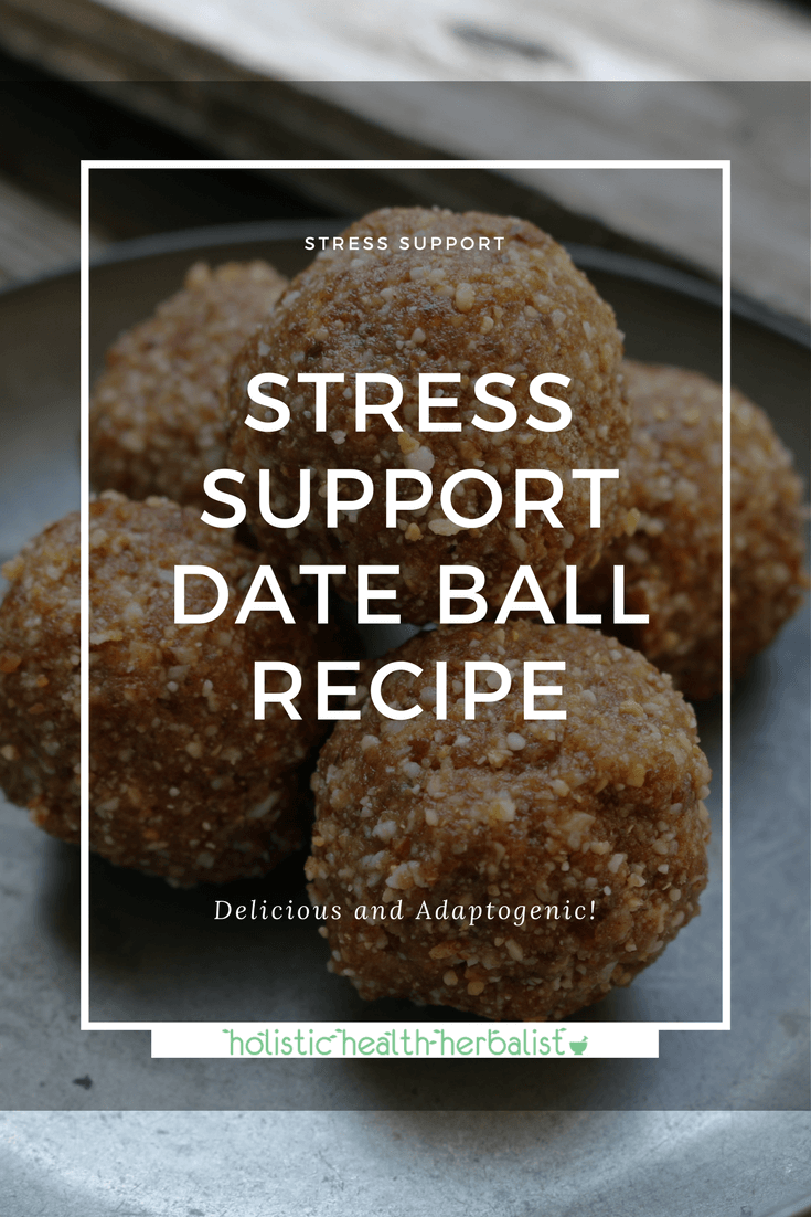 Stress Support Date Ball Recipe - Learn how to make an energizing snack that reduces stress, boosts endurance, and balances hormones using ashwagandha, shatavari, and maca root. #stress