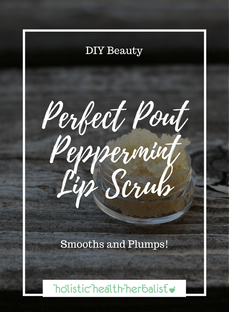 Perfect Pout Peppermint Lip Scrub - Learn how to make an effective lip scrub recipe that smooths and plumps the lips making them perfect for flawless lipstick application.