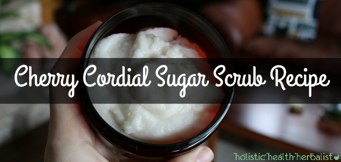 Cherry Cordial Sugar Scrub Recipe for Deliciously Hydrated Skin - me holding the sugar scrub in my hand.