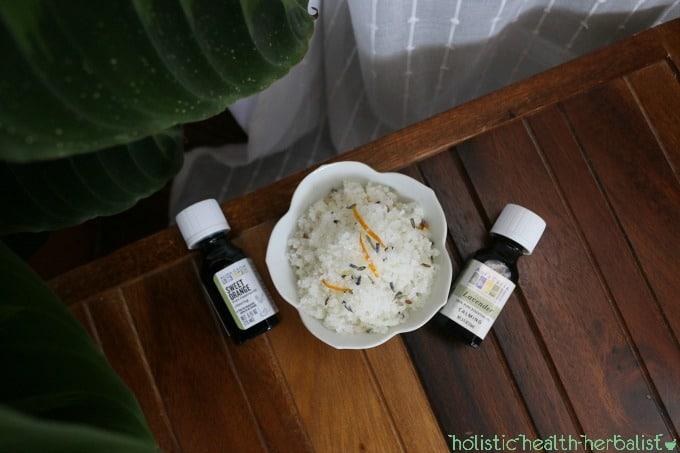 photo of homemade lavender orange salt scrub